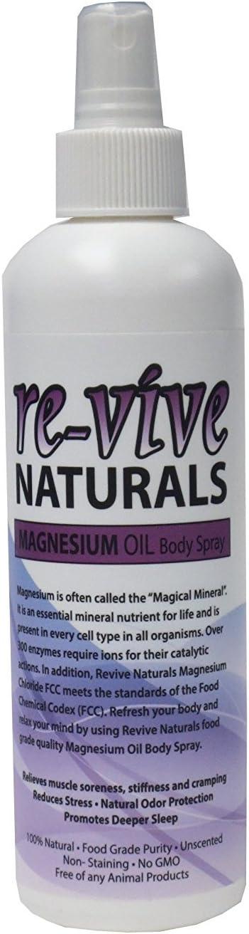 Re-vive Naturals Magnesium Oil Spray 8 Oz Food Grade Quality