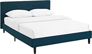 Modway Linnea Upholstered Azure Full Platform Bed with Wood Slat Support