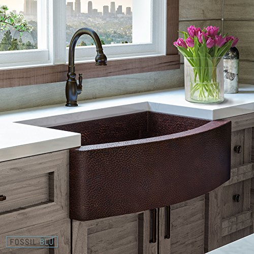Luxury 33 inch Copper Farmhouse Kitchen Sink, Extra-thick 14-Gauge Pure Solid Copper, Artisan Hammered Finish, Single Bowl with Curved Front, includes Copper Disposal Flange, FSW1101 by Fossil Blu (33 Inch Copper Hammered Kitchen)