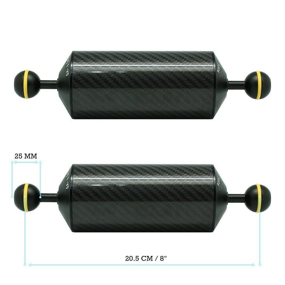 KitDive 2 x 8'' / 20.5 cm D60mm Carbon Fiber Underwater Float Arm for Video Light/Strobe mounting (2 PCS)
