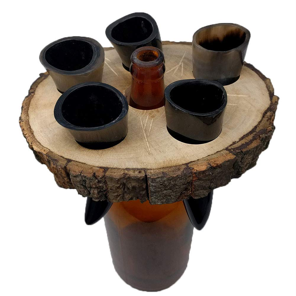 Alehorn Handcrafted Genuine Viking Wine/Mead Drinking Horn 50 ML Toasting Horn Shot Glasses Set of 5 w/Rustic Custom Wooden Holder Tray Rack Display Stand Decor