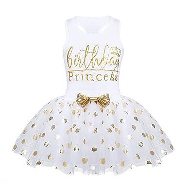 inhzoy Vestido de Bautizo Fiesta para Bebé Niña Infantil Vestido de Princesa Verano Tops de Algodón + Tutú Falda de Lunares Traje Cumpleaños Ceremonia