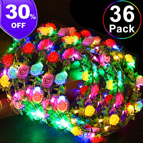 Flower Headband Light - TURNMEON 36 Pack Party Favors LED Flower Crowns,【July Deals】 Glow in The Dark Party Supplies Adjustable Flower Headband Light Up Toys for Kids Adults Wedding Hawaiian Beach Holiday Birthday Party