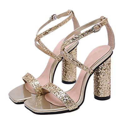 a57e998bc722 2019 Women Sandals Sexy Cross Strap Buckle Chunky High Heels Female Summer Shoes  Bling Sequined Party