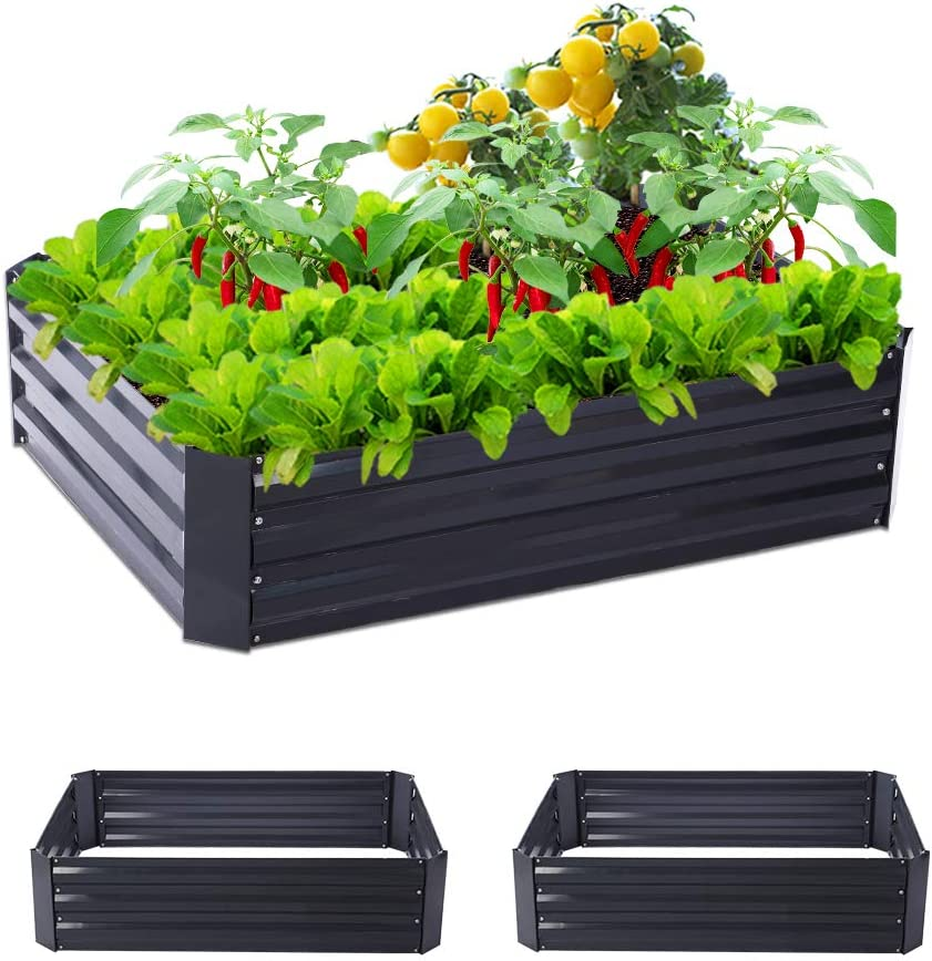 Taleco Gear 2-Pack Outdoor Raised Garden Bed,Galvanized Steel Ground Planter Box for Vegetables, Flowers, Herbs, Plants, Garden 4x3x1ft