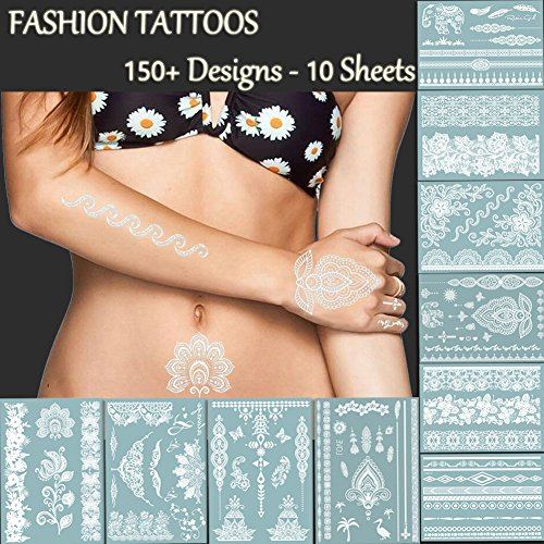 TAFLY Premium White Lace Tattoos - 150+ Designs Temporary Fake Jewelry Tattoos - Bracelets, Feathers,Elephant,Wrist & Arm Bands Transfer Body Tattoos Sticker for Women