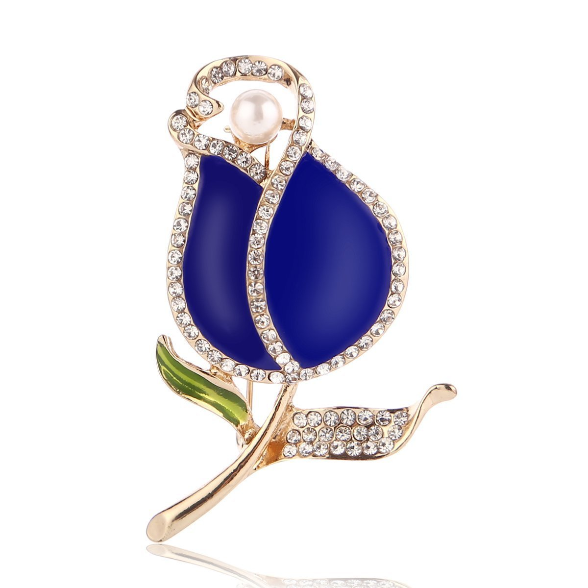 Humerry Women Lily Brooch Pins Enamel Blue Flower Brooches for Wedding Party