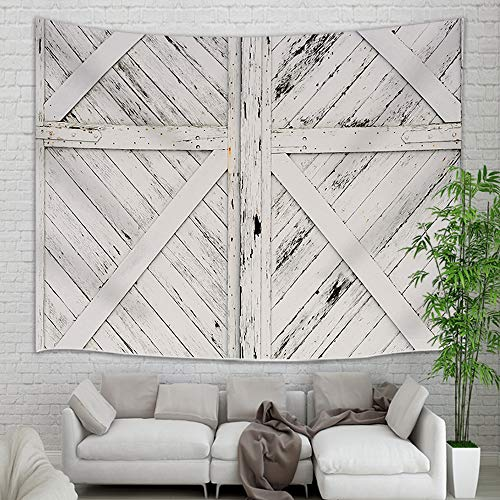 (NYMB Old Wooden Doors Tapestry Wall Hanging, Vintage Old Rustic White Painted Barn Wood Wall Tapestry, Wooden Wallpaper Tapestry Blanket for Bedroom Living Room Dorm Home Decor Bedspread, 71X60 in)