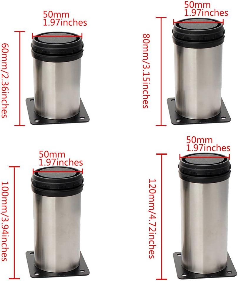 Silver Pieds de Meuble Pieds en Acier Inoxydable Argent/é Table Lit canap/é Niveau Pieds Tookie r/églable Pieds de Meubles 5 * 12cm