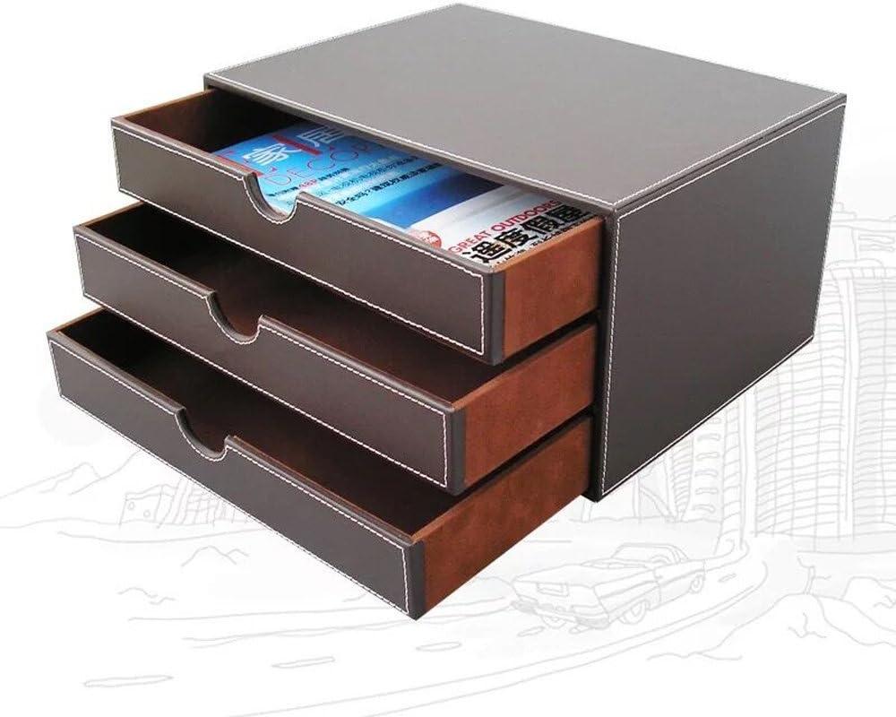 3-Schublade UnionBasic Multifunktionaler Schreibtisch-Organizer aus PU-Leder mit Schublade Kaffee einfarbig