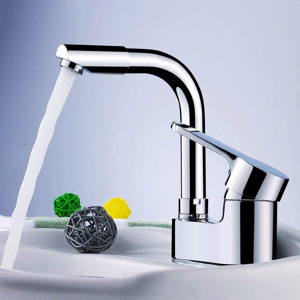 Copper Double Hole Basin Hot And Cold Water Faucet Can Be redated 360 Degrees Bathroom Bathroom Three Holes Wash Basin Basin Basin Faucet