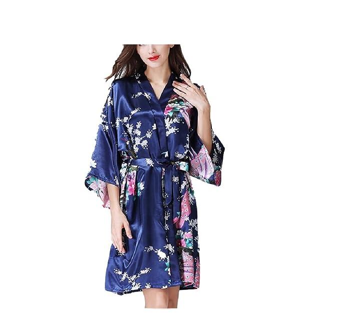 FuweiEncore Vestido de Manga Larga y Mangas Cortas Vestido de Raso y Pijamas de Satén Floral