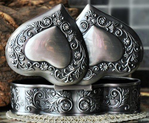 Unendlich U Luxus Schmuckkoffer Retro Style Antique Doppel-Herz mit Schmuckkästchen,Reines Zinn-Schmuckstück,Silber -