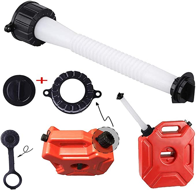 1 ORANDESIGNE Gas Can Spout Replacement Nozzle Old Style with Screw Cap Collar Stopper Cap Gaskets Rear Vent Cap for Plastic 5 Gallon Cotainer Gott Rubbermaid Essence Some RotopaX