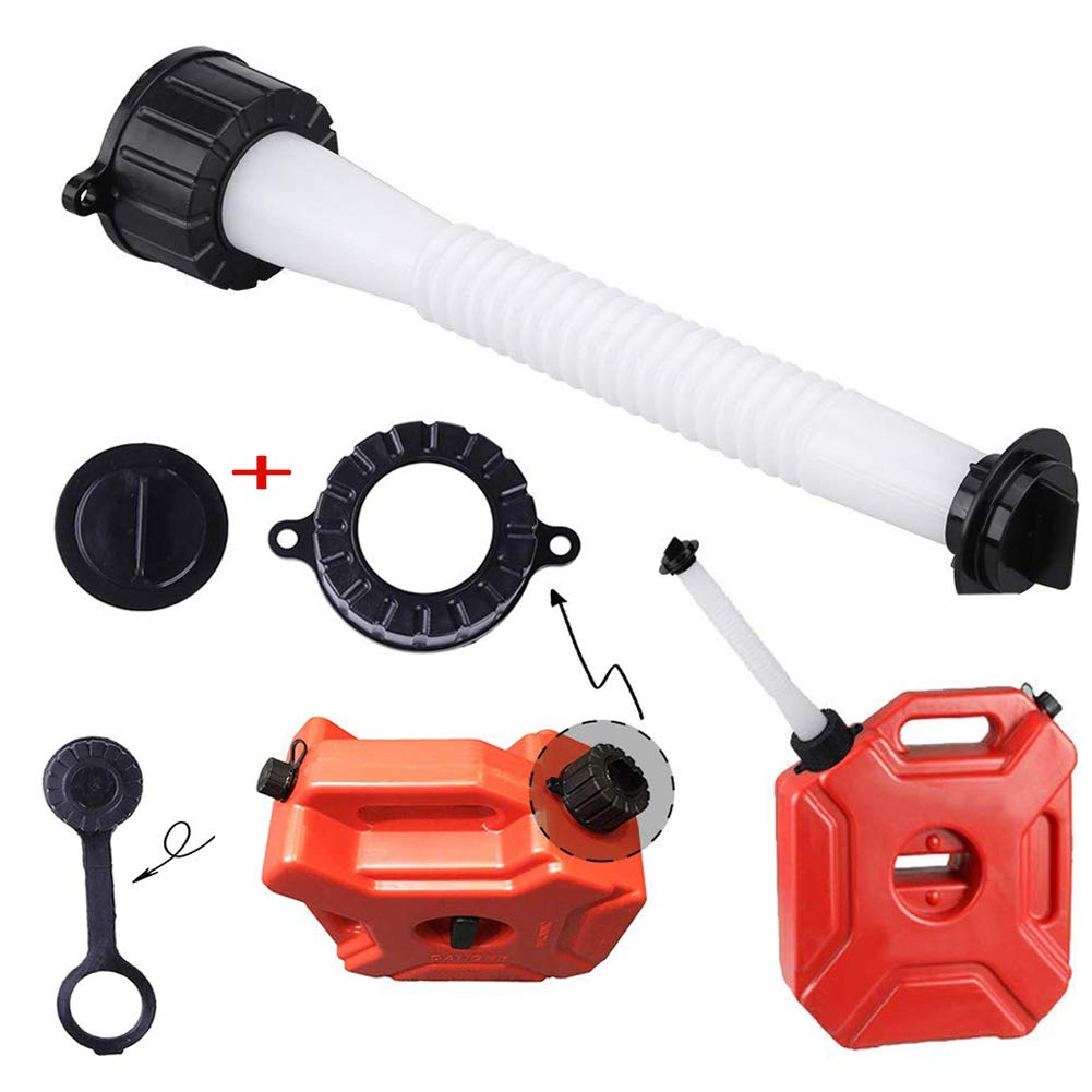 ORANDESIGNE Gas Can Spout 5 Gal Replacement Old Style Fuel Can Nozzle Kit with Screw Cap Collar Stopper Cap Gaskets Rear Vent Cap for Gott Rubbermaid Essence Some RotopaX Container 6