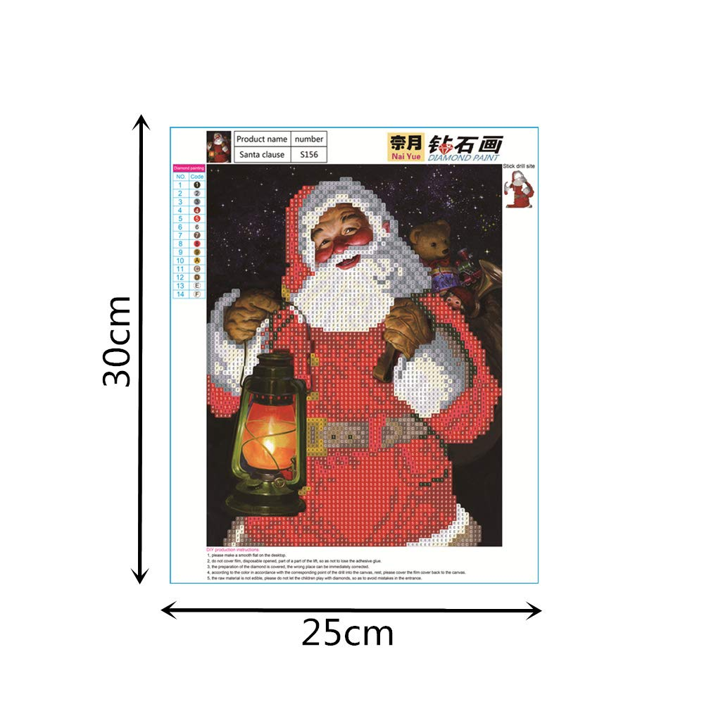 Santa Claus 3 ShuoBeiter 5D Diamond Painting by Number Kits DIY Diamond Painting Kit for Adults Kids Cross Stitch Embroidery Arts Craft Picture Home Wall Decor SBTdiamondjh-XMAS