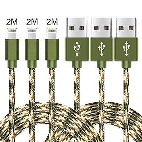 Lightning Kabel, WZS 3Pack 2M Nylon iPhone Ladekabel iPhone Kabel USB Datenkabel für Apple iPhone 7 / 7 Plus / 6S / 6S Plus / 6 / 6 Plus / SE / 5s / 5c / 5 / iPad Pro / Air / Mini / iPod Nano 7-Grün