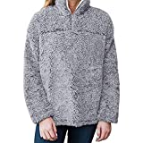 Fiaya Women Zip Fleece Plush Pullover Pile Stadium Sweatshirts Warm Tops Blouse (Medium, Gray)