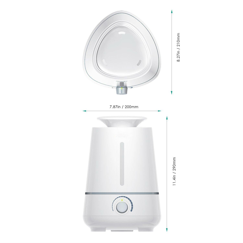 Zoweetek® Humidificador de Aromaterapia / Ultrasónico Cool Mist , Nivel Constante de Humedad, Control de Vapor, Temporizador Sin Ruido 3.5L