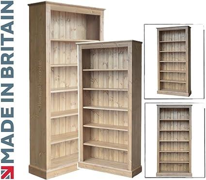 Pino macizo librería, artesanal 182,88 cm x 91,44 cm y enceré pantalla ajustable estantería, estantes. Sin paquetes planos sin montaje, elección de ...