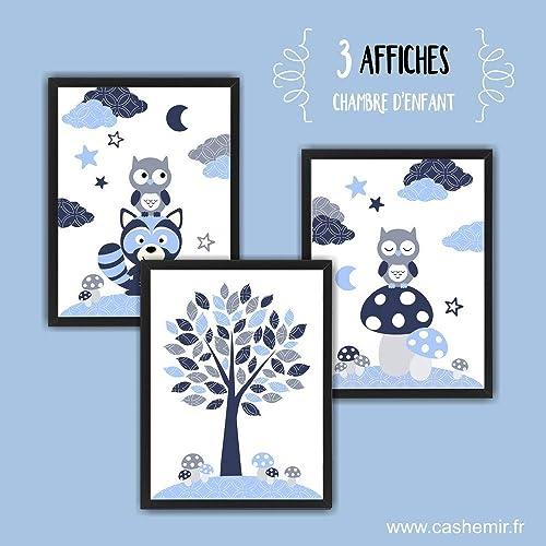 Affiche Enfant, Décoration Chambre Bébé Garçon, Illustration Chambre Enfant  Hibou Raton Laveur Bleu Gris