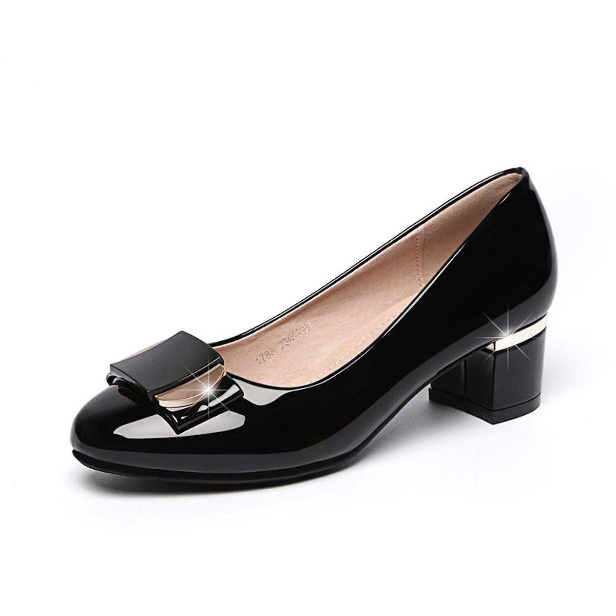 HBDLH-Damenschuhe/Sommer-Leder Single Mittlere Betuchte Pumps High Heels Runde Flache Schuhe.