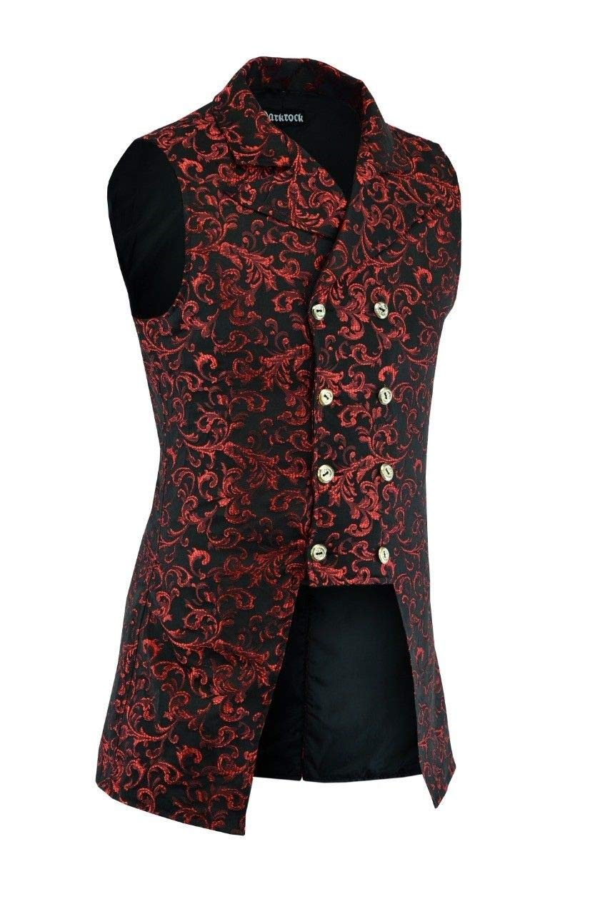 Darkrock Men's Double Breasted Governor Vest Waistcoat VTG Brocade Gothic Steampunk 7