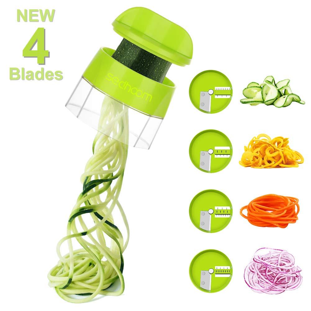 Sedhoom 4 in 1 Handheld Spiralizer Vegetable Slicer, Vegetable Spiralizer, Zucchini Spaghetti Maker, Zucchini Spiralizer, Zucchini Noodle Maker, Spiral Slicer Great For Salad, Salad Utensils