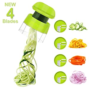 Sedhoom 4 in 1 Handheld Spiralizer Vegetable Slicer, Vegetable Spiralizer, Zucchini Spaghetti Maker, Zucchini Spiralizer, Zucchini Noodle Maker, Spiral Slicer Great For Salad, Salad Utensils