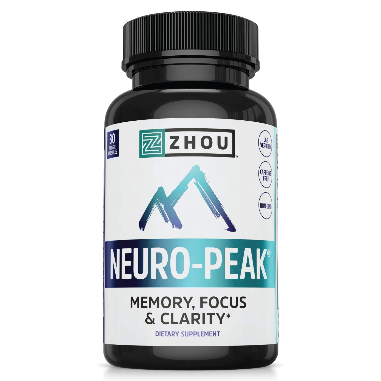 Zhou Neuro Peak Brain Support Supplement | Memory, Focus & Clarity Formula | DMAE, Rhodiola Rosea, Bacopa Monnieri, Ginkgo Biloba & More | 30 VegCaps