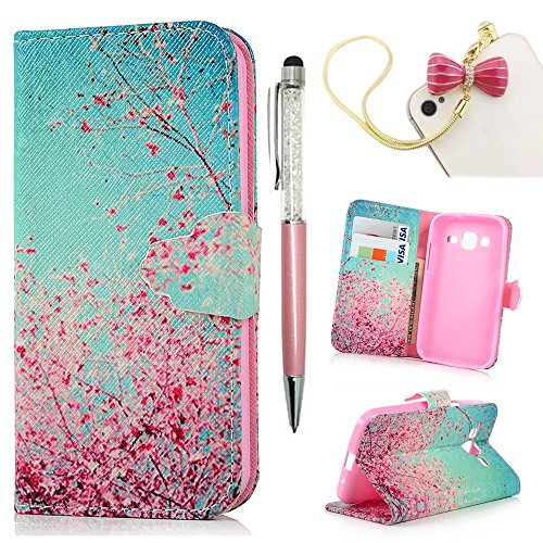 Galaxy Prime G360 Case, MOLLYCOOCLE Pink Cherry Blossoms Stand Wallet Purse Credit Card ID Holders TPU Soft Bumper Premium PU Leather Ultra Slim Fit Cover for Samsung Galaxy Core Prime G360