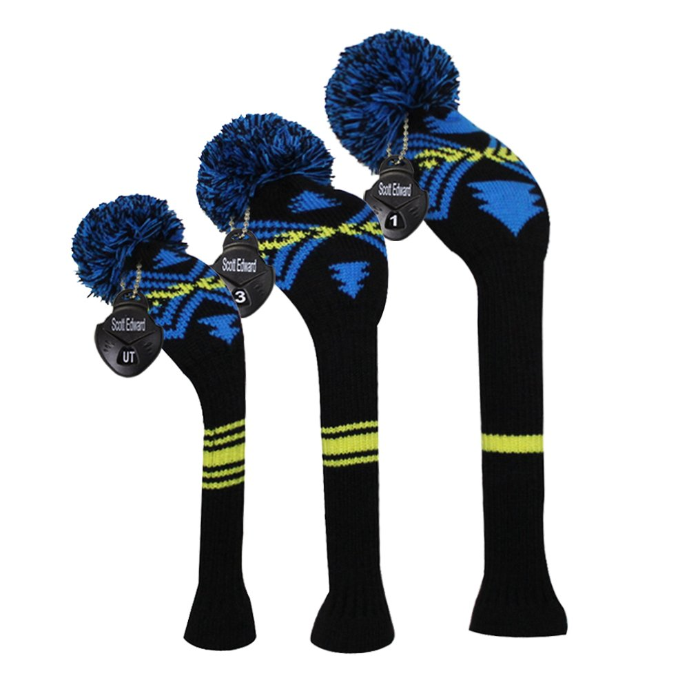 Scott Edward Blue Yellow Black Abstract Pattern Golf Head Covers Set of 3 Wood Clubs, with Rotating Number Tags