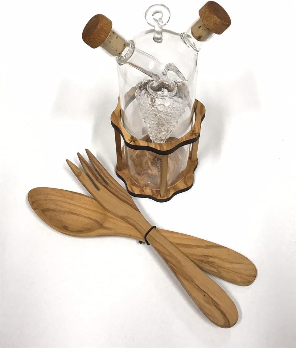 set oliera ed acetiera con posate per insalata in pregiato legno di ulivo italiano idea regalo made in italy indispensabili nella cucina di casa