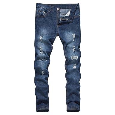Herren Jeanshosen FORH Männer Slim Fit Basic Style Stretch Jeans Classic  Vintage Gebrochen Löcher Straight Leg 1bea956a70