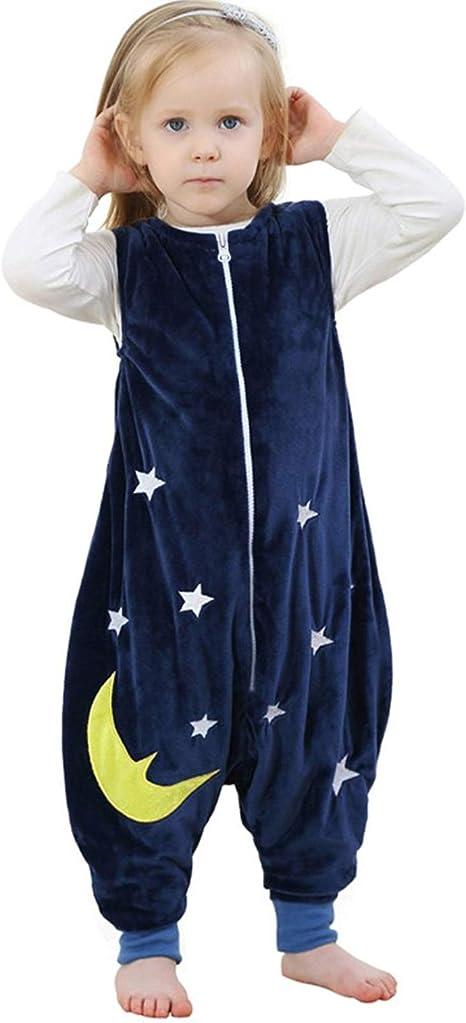 ZEEUPAI - Saco de Dormir con piernas de Franela para bebés niños infantíl Ropa Pijama niñas (S (1-3 años), Azul Marino - Estrellas): Amazon.es: Bebé