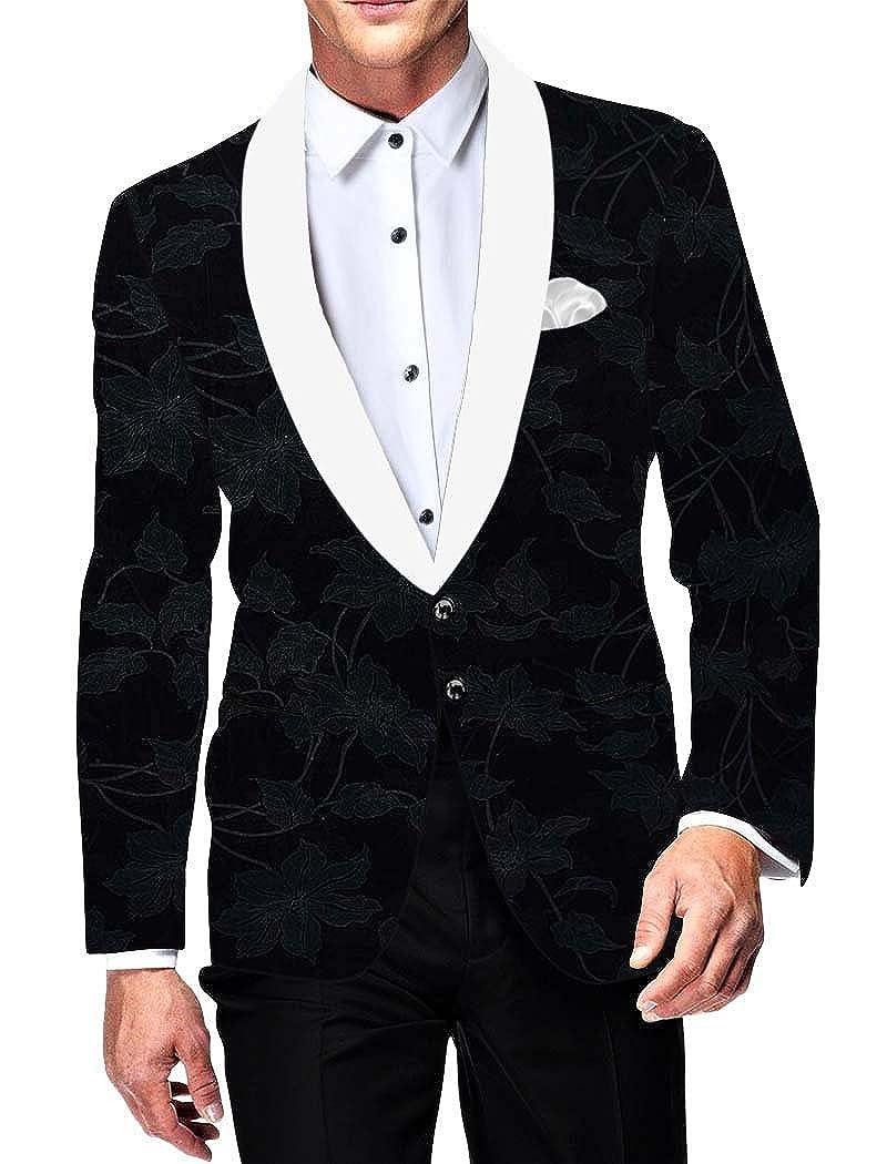 INMONARCH Mens Slim fit Casual Dark Blue Velvet Blazer Sport Jacket Coat Floral Design VB15660
