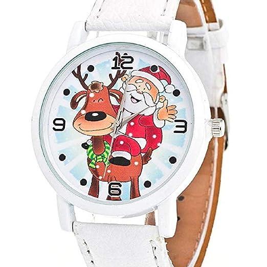 Scpink Mujeres Navidad Ancianos y Elk Patrón Analógica Relojes de Pulsera Relojes de niña Relojes de