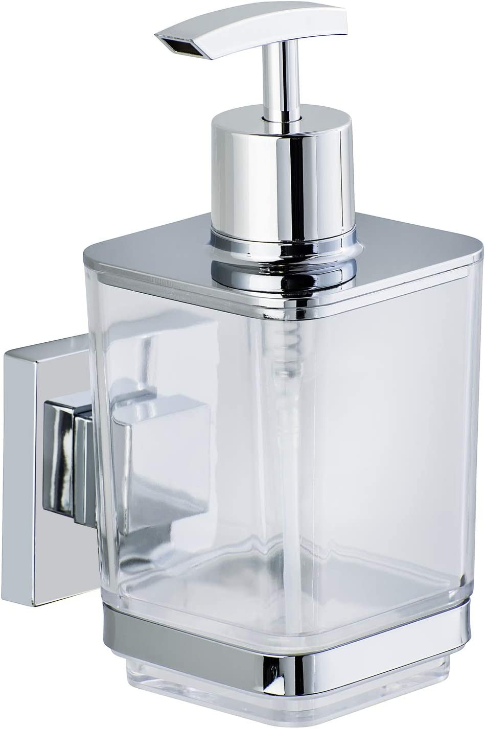 Wenko Vacuum-Loc soap Dispenser Quadro, Stainless Steel, Silver Shiny, 7.5 x 10 x 16 cm