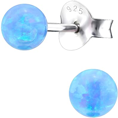 fc9332014c46 EYS JEWELRY Perlen Damen-Ohrstecker 925 Sterling Silber synthetischer Opal  4 mm hell-blau Kugel-Ohrringe im Geschenk-Etui  Amazon.de  Schmuck