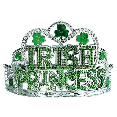 Amscan Girls Irish Princess Plastic Tiara St. Patrick's Day Party Head Wear Accessory favor (Pack Of 1), Silver/Green, 3 1/2
