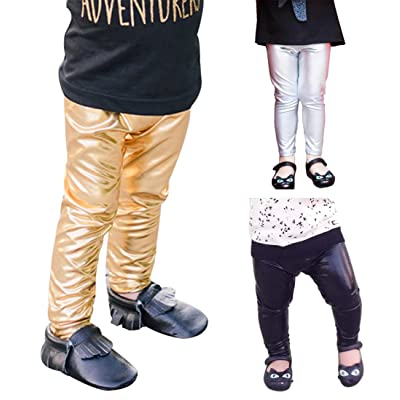 3PC-Baby Boys Girls Leggings Pants Solid Skinny Metallic Leggings for Toddlers