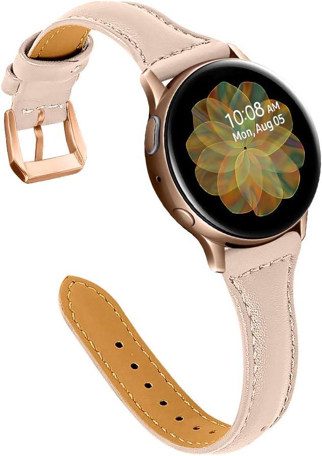 malla de cuero rosa para Samsung Galaxy Watch Active(40mm)/2