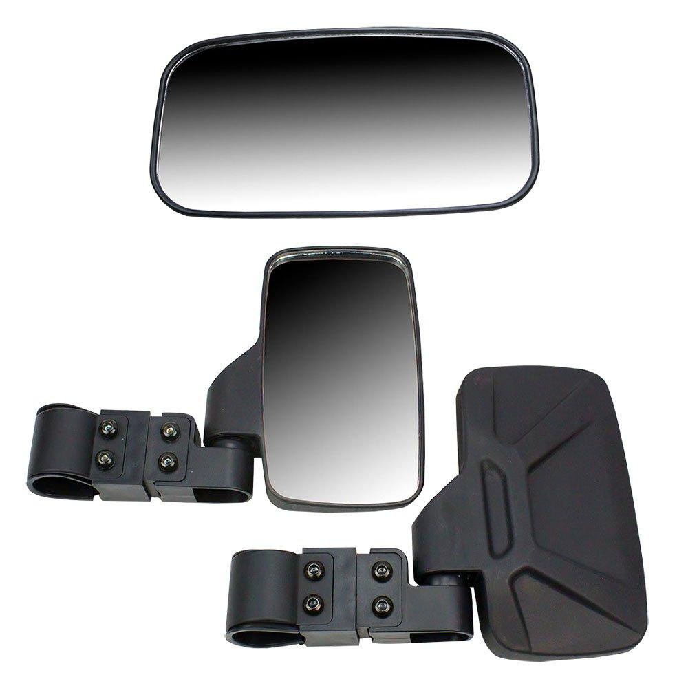 Black Breakaway Side & Rear View Mirrors Side x Side UTVs w/ 2'' Roll Cage
