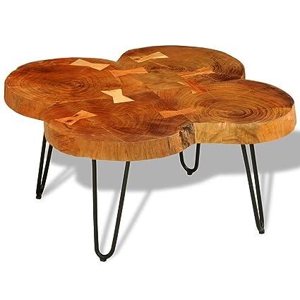 Vidaxl Table Basse Table D Appoint En Bois Massif Sheesham 35 Cm 4 Troncs Brun