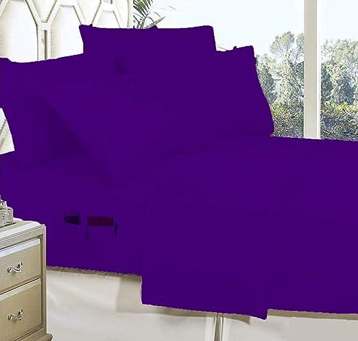BudgetLinen - Juego de sábanas de algodón Egipcio de 600 Hilos, colección sólida, 4 Piezas, con Bolsillos utilitarios, Color Morado, tamaño pequeño de Reino Unido (60 cm x 1,82 m): Amazon.es: Hogar