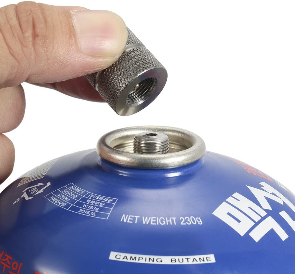 Lixada Cartucho Gas Refill Adaptor Boquilla Tipo de Botella Gas Butano Cartucho/Recipiente Gas para Tornillo Tipo Lindal Valve Canister
