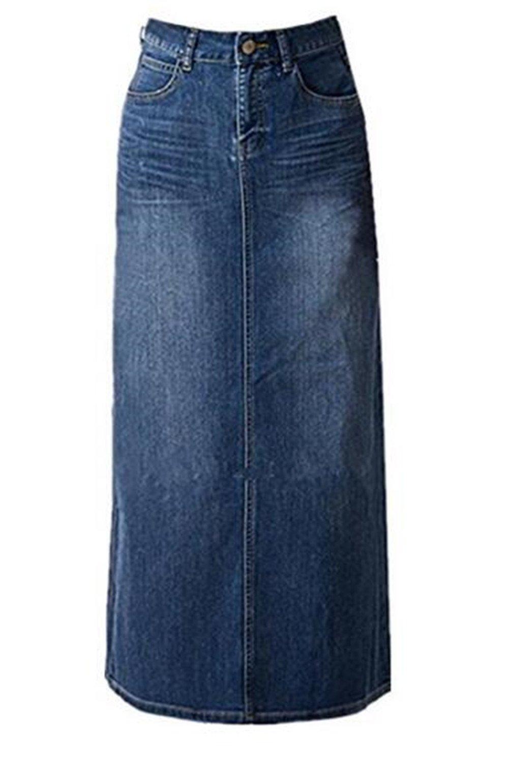 Women's Maxi Pencil Jean Skirt- High Waisted A-Line Long Denim Skirts For Ladies- Blue Jean Skirt,Blue,20 Plus