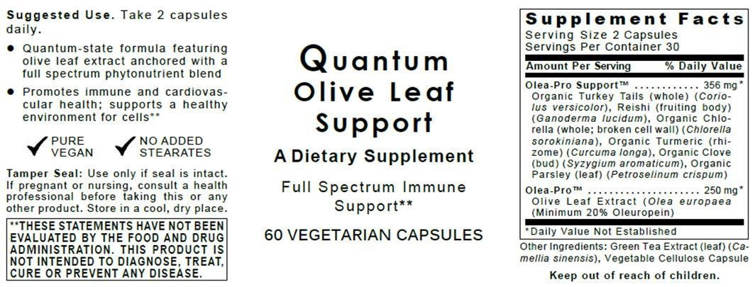 Quantum Olive Leaf Support, 180 VCaps 3 Bottles - Premier Olive Leaf Immune Extract Formula, Minimum 20% Oleuropein, Full Spectrum Immune Support