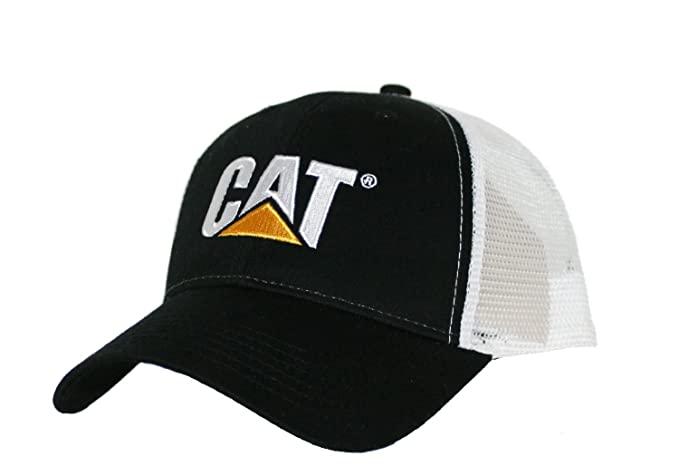16e227bc Image Unavailable. Image not available for. Color: Caterpillar CAT Black & White  Twill Mesh Snapback Cap