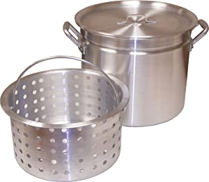 King Kooker KK100R Aluminum Pot with Basket and Lid, 100-Quart